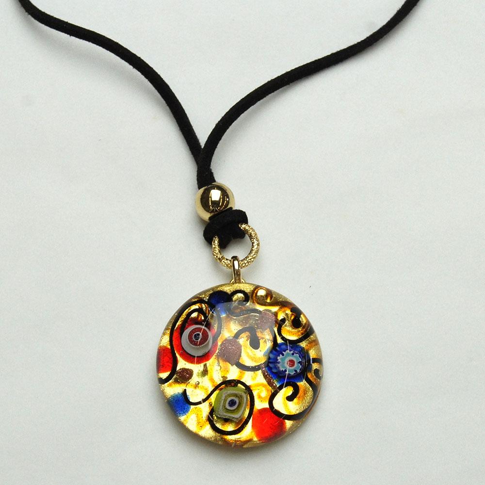 Round miro art glass murano pendant murano di susanne - Safari murano jewelry ...