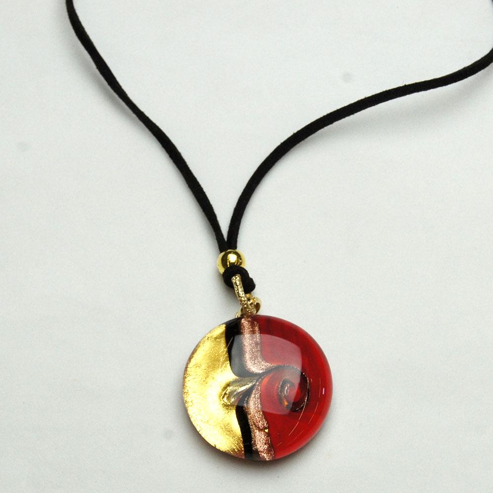 Round red picasso art murano glass pendant murano di susanne - Safari murano jewelry ...